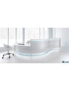 VALDE Countertop Curved Reception Desk, High Gloss White