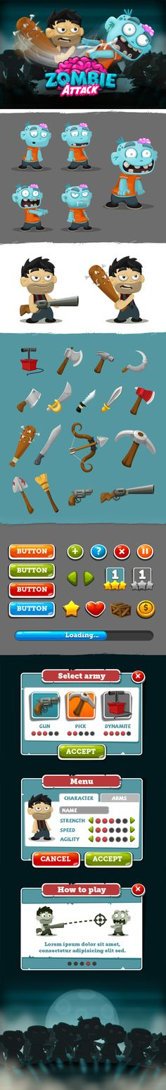 Zombie Attack - Game by Sabrina Torchiana, via Behance