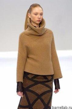 Пуловер с большим воротником спицами. Пуловер в стиле Akris спицами | Домоводство для всей семьи