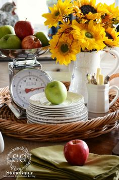 Fall vignette on a rattan tray with a kitchen scale and sunflowers from Stone Gable Kitchen Vignettes, Kitchen Ideas, Kitchen Decor, Big Coffee, Coffee Bars, Autumn Coffee, Happy Fall Y'all, Early Fall, Autumn Inspiration