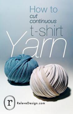 Måske kan jeg gøre det her med gamle lagner. HOW TO cut one long strand of yarn out of a t-shirt crochet-crochet-crochet