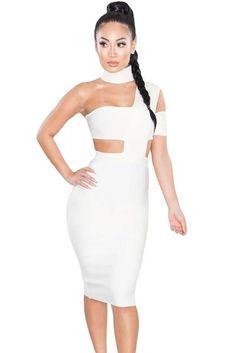 Stylish White Sexy Choker Neck Cut out Bandage Party Dress Sexy Dresses, Sexy Party Dress, Women's Fashion Dresses, Dresses With Sleeves, Bandage Dresses, Robes Bandage, Lace Dresses, Pretty Dresses, Dress Outfits