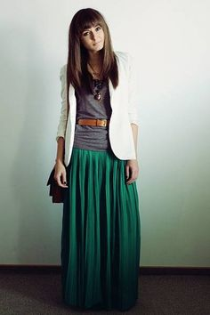 Belted T Shirt with Maxi Skirt - Chictopia