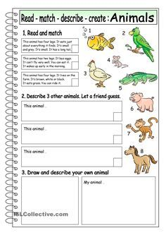 Read - Match - Describe - Create: ANIMALS (3)