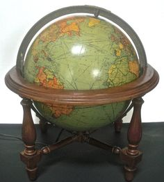 World Globe Lamp 1930s Glass Pre WWII Vintage by DsTrove on Etsy