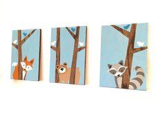 Ce lot de trois animaux de la forêt sur le bois peint fera le complément parfait à votre petite chambre d'enfant woodland ceux ou pépinière entre amis ! Cet ensemble peut être personnalisé comme vous le souhaitez. S'il vous plaît n'hésitez pas à me contacter pour toutes questions ou