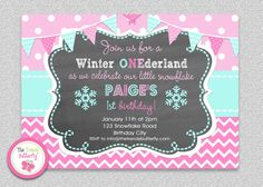 Girls Winter Snowflake Wonderland Birthday Invitation Girls 1st Birthday TheTrendyButterfly