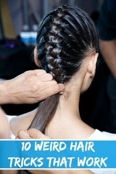 hair hair hacks 10 Weird Hair Tricks That Real Crazy Hair, Weird Hair, Pretty Hairstyles, Braided Hairstyles, Hairstyle Ideas, Fringe Hairstyle, Spring Hairstyles, Braided Ponytail, Short Hairstyles