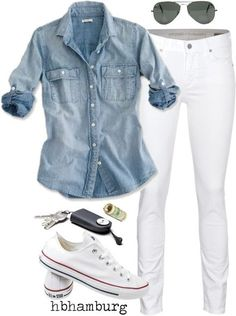30 Chic Fall Outfit Ideas – Street Style Look. 42 Flawless Casual Style Ideas To Copy Today – 30 Chic Fall Outfit Ideas – Street Style Look. Mode Outfits, Jean Outfits, Fall Outfits, Summer Outfits, Casual Outfits, Fashion Outfits, Denim Shirt Outfit Summer, Summer Clothes, Dress Casual