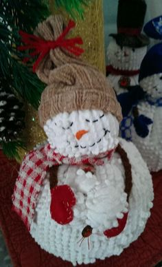 Vintage Chenille Snowman!! One of a kind, adorable handmade snowmen, from The Cranberry Smuggler on Ebay!!