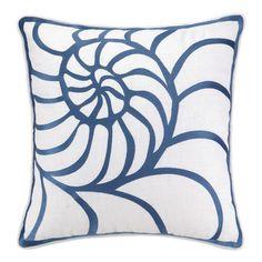 Kate Nelligan Nautilus Embroidered Linen Pillow