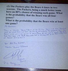Bears vs. Packers Homework... haha:)