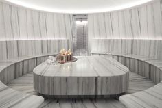 Modern luxury temple in white marble stone spa and wellness area of the Grand Ho. Modern luxury temple in white marble stone spa and wellness area of the Grand Hotel Tremezzo, Lake Como, Italy
