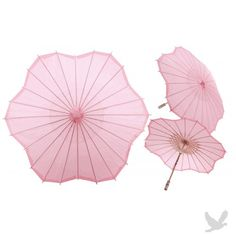 """32"""" Pink Scalloped Shaped Paper Parasol"""