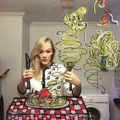 Artist Creates Doodles on Mirror to Turn Selfies into Imaginative Adventures | Helene Meldahl [Instagram: @mirrorsme]