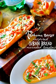 Bahama Breeze Inspired Cuban Bread with Tomatoes #copycat #recipe #bread #tomatoes #pizza