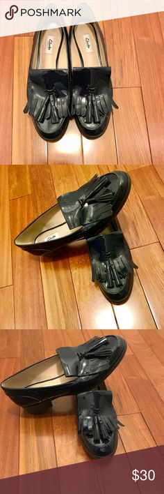 Clark's navy blue loafers from England. Worn once. Clark likes new Navy blue patent loafers. Size 10 (they run wide) Clarks Shoes Flats & Loafers