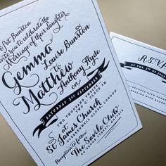 Letterpress wedding invitations printed in dense black ink on Colorplan Azure Blue card stock
