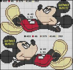 "Delicate Corner: Charts Cross Stitch ""Mickey and Minnie"" Cross Stitch For Kids, Cross Stitch Baby, Cross Stitch Charts, Cross Stitch Patterns, Mickey Mouse Crafts, Mickey Mouse And Friends, Mickey Minnie Mouse, Disney Stitch, Cross Stitching"