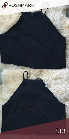 Black crop top Black crop top with an open split back Forever 21 Tops Crop Tops