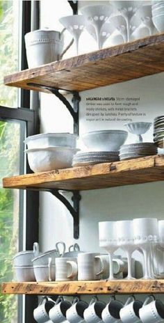 reclaimed wooden shelves