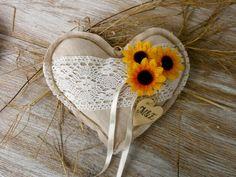 Bague de mariage oreiller rustique coussin coeur par VesyArtstudio