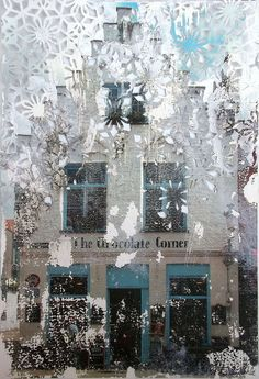 The Building on the Corner. Paper cut collage by Elise Wehle