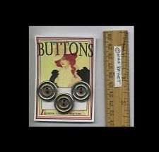 FABULOUS 3 Silver Round Metal Wheels VINTAGE BUTTONS on ART CARD sewing notions