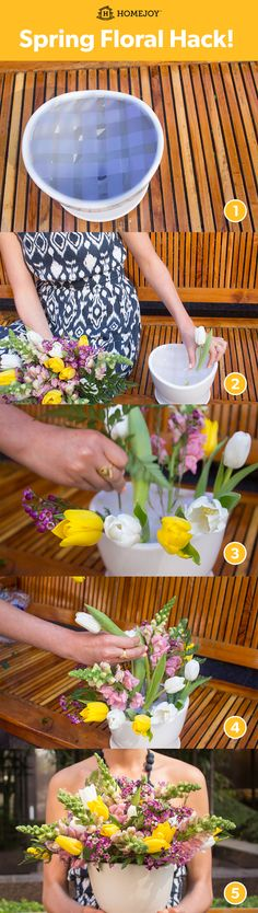 Video tutorial also available: http://hjoy.co/MSFA15  1.Create a tape grid on your vase 2. Start filling vase by placing flowers along the rim of the vase 3. Work in a circular motion 4. Add greenery for more texture and dimension 5. Enjoy!