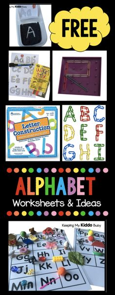 Tons of FREE worksheets and literacy center ideas for teaching the alphabet! Perfect for preschool, pre-k, kindergarten, homeschool and busy bags for toddlers.