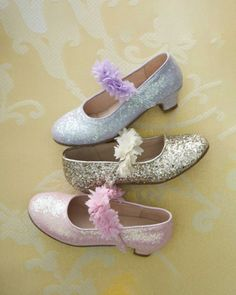 Girls Glitter Flower Mary Janes - exclusively ours - For the sparkle-and-shine season, you'll want these darling Mary Janes. Glitter uppers and fabric flowers along the strap mean they're sure to be favorites. Kid Shoes, Girls Shoes, Baby Shoes, Shoes Sneakers, Glitter Flowers, Southern Belle, Girls Dream, My Princess, Our Girl