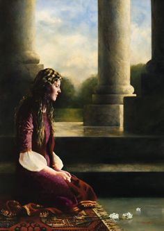 """For Such A Time As This"" (Esther) Elspeth Young's art. Queen Esther before she goes to defend her people before the king. Bible Images, Bible Pictures, Lds Art, Bible Art, Queen Esther, Christian Artwork, Young Art, Prophetic Art, Biblical Art"