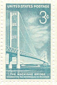 US Postage Stamp: The Mackinac Bridge, Great Lakes