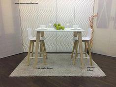 Taburete alto en blanco y madera con respaldo Eclipse con mesa alta Adana o mostrador para barra de desayunos
