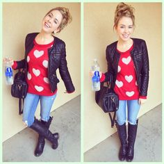Red cute sweater, black leather jacket, jeans and tall black boots