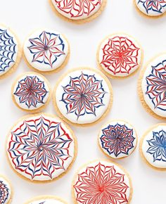 Awesome Firework Cookies!  Change the colors to black and orange and make spiderweb cookies for Halloween?