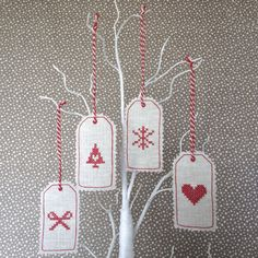 Cross stitch linen tags | Sophie Made This