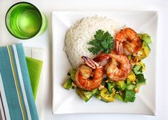 Tropical Tamarind Shrimp with Avocado Cucumber Salad