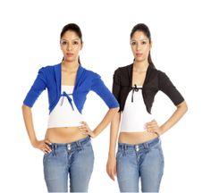 TeeMoods Royal Blue-Black Short Shrug Combo