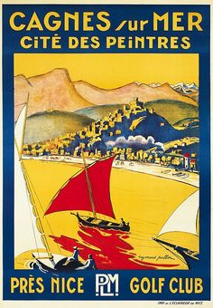 Vintage PLM Travel Poster by Raymond Pallier: Cagnes sur Mer, Nice, France Paris Poster, A4 Poster, Cagnes Sur Mer, Pub Vintage, Beach Posters, Ville France, Travel Brochure, Vintage Typography, Beaches In The World
