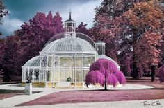 Gustave Eiffel glass house. False color infrared photography. France.