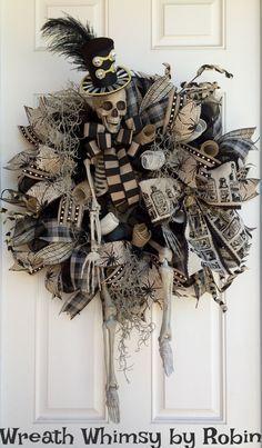XL Halloween Skeleton Deco Mesh Wreath in Tan & Black, Front Door Wreath, Fall…