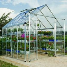 Palram Snap and Grow 8 ft. x 8 ft. Silver Polycarbonate Greenhouse-701371 - The Home Depot