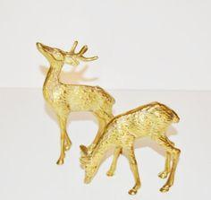 Vintage Brass Deer Figurines Reindeer Woodland by JudysJunktion, $35.00