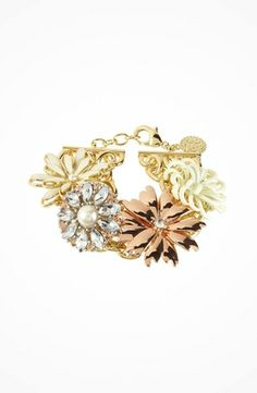 Jessica Simpson Primrose Tri Tone Large Flower Bracelet #accessories  #jewelry  #bracelets  https://www.heeyy.com/jessica-simpson-primrose-tri-tone-large-flower-bracelet-cream-crystal-vintage-rose-antique-white/