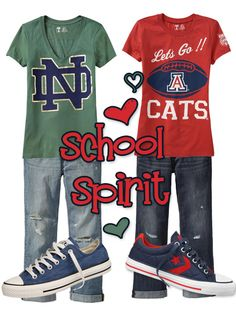 Girls College Football Fashion - Notre Dame and Arizona Cats