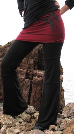 Devi Yoga Pants with Skirt in Organic Cotton by HerbanDevi on Etsy