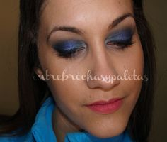 Maquillaje en azules | Tilt de Mac y 140 de Pierre Rene http://www.entrebrochasypaletas.com/2014/03/maquillaje-en-azules-tilt-de-mac-y-140.html #makeup