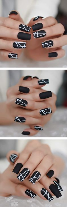Matt Black Fake Nails Visible Trails of Planets Faux Ongle Square Press On Finger Manicure with Adhesive Tabs 24 Halloween Acrylic Nails, Summer Acrylic Nails, Cute Acrylic Nails, Acrylic Nail Designs, Gel Nails, Coffin Nails, Pretty Nail Designs, Pretty Nail Art, Nail Art Designs Videos