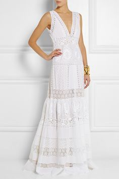 Broderie Anglaise Cotton Maxi Dress, £1764 | Roberto Cavalli